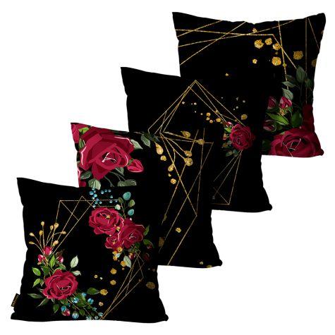 Kit com 4 Almofadas Peluciada Preta com Rosas