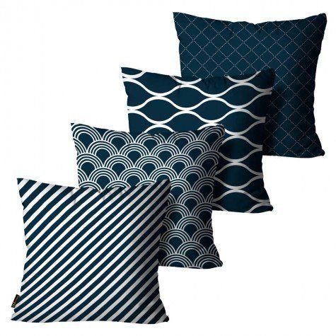 Kit com 4 Almofadas Cetim Geométrica Azul Escuro
