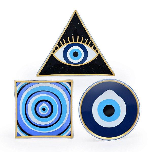 Conjunto Pratos de Vidro Olho Grego
