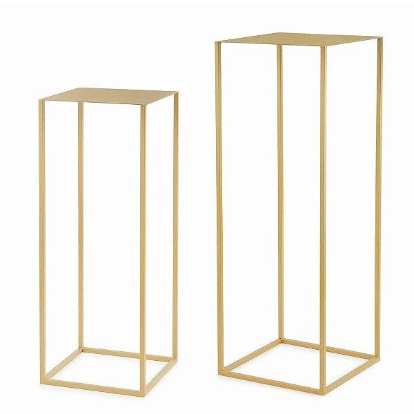 Kit Mesa de Apoio Dourado em Metal