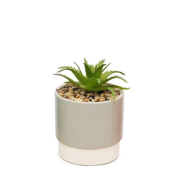 Mini Vaso com Suculenta Cinza