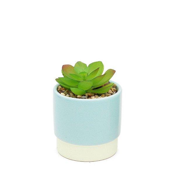 Mini Vaso com Suculenta Azul