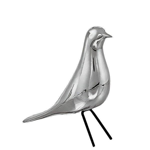 Pássaro Cerâmica Prata