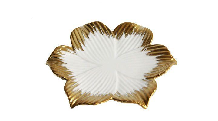 Prato Decoração Branco e Dourado