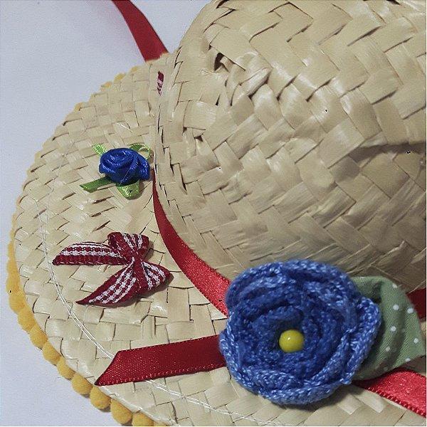 Chapéu M - Festa Junina - Flor Azul
