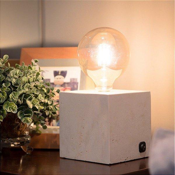 Luminária Cube Mármore Travertino Romano G
