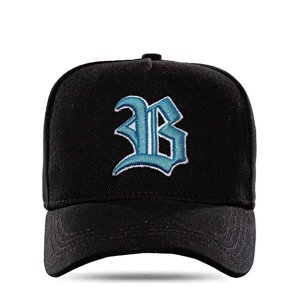 Boné Snapback Basic Colored Black Logo Blue