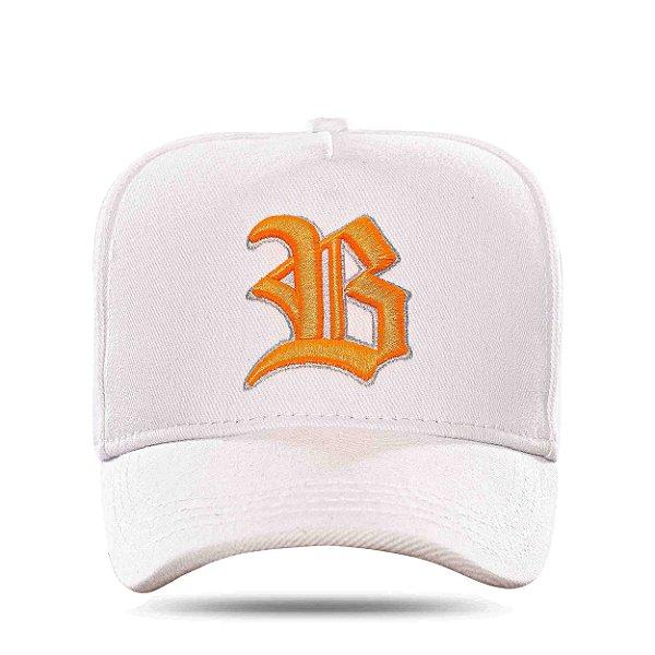 Boné Snapback Basic Colored White Logo Orange