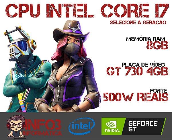 CPU INTEL CORE I7 - 8GB RAM - SSD 240GB SATA - GT 730 4GB - 500W REAIS - GABINETE GAMER