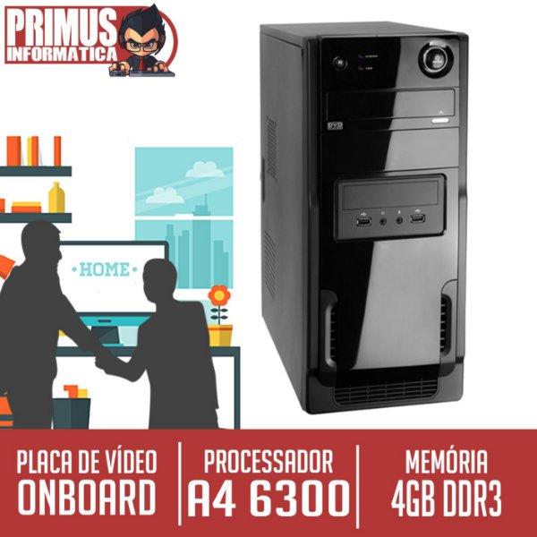 Computador Home Pro AMD Dual Core A4 6300, 4GB DDR3, SSD 120GB.