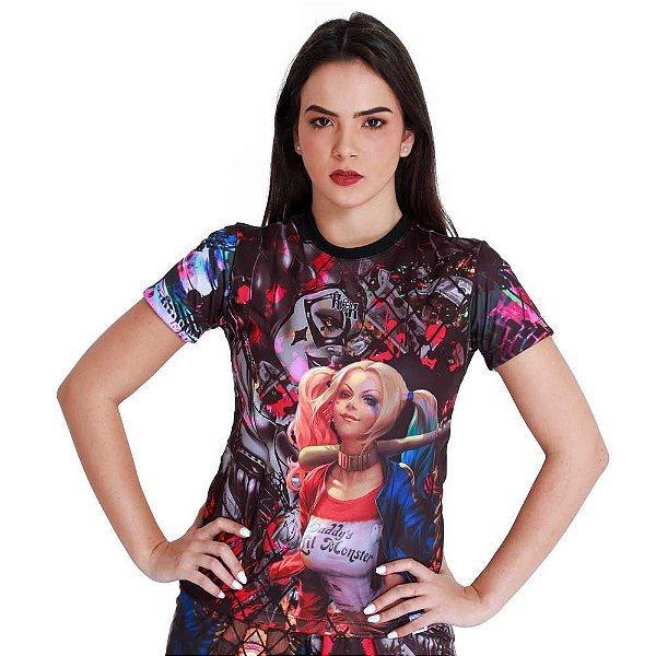 Camiseta Feminina Arlequina Grades