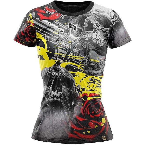 Camiseta Feminina Caveira Rosas