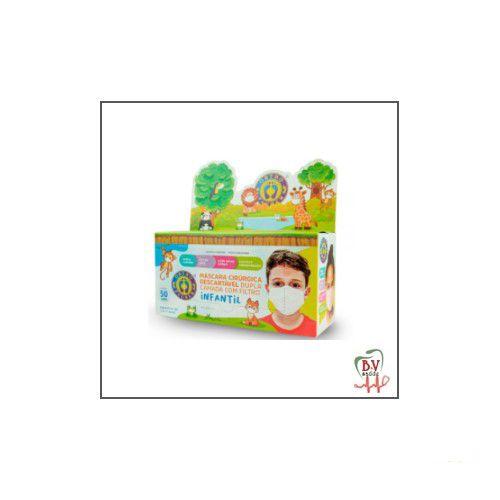 Máscara Infantil Descartável Rosa Dupla com Elástico 50 unidades