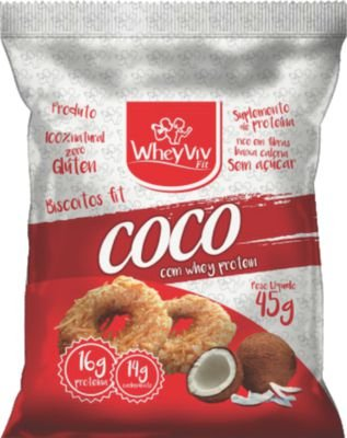 Biscoitos Fit Coco com Whey Protein - 45g - WheyViv