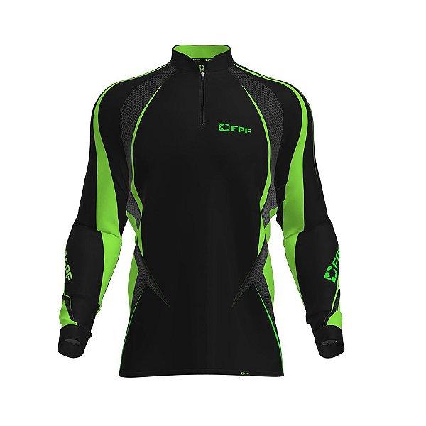 Camisa de Pesca Fpf Proteção Solar Black Edition Verde