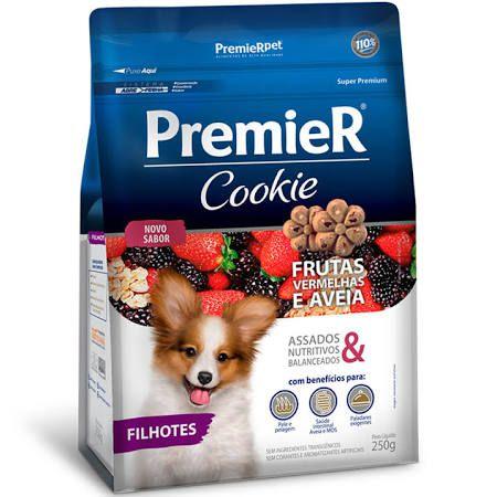 Biscoito Premier Cookie para Cães Filhotes Sabor Frutas Vermelhas e Aveia 250g