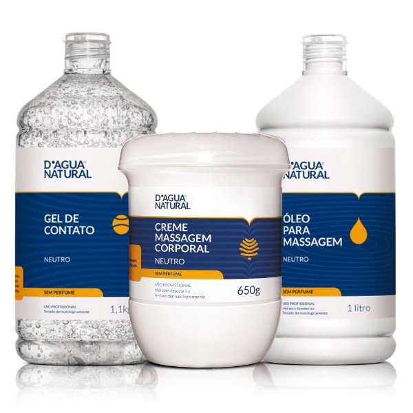 Kit de Massagem Corporal Neutro D'Água Natural - 3 itens