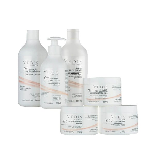 Kit Limpeza de Pele Profissional Face Care Vedis - 6 Itens