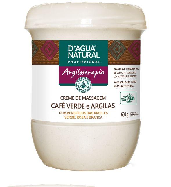 Creme de Massagem Café Verde e Argilas D'agua Natural - 650g