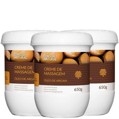 D'agua Natural Creme de massagem Óleo de Argan 650g - Cx com 3 Potes