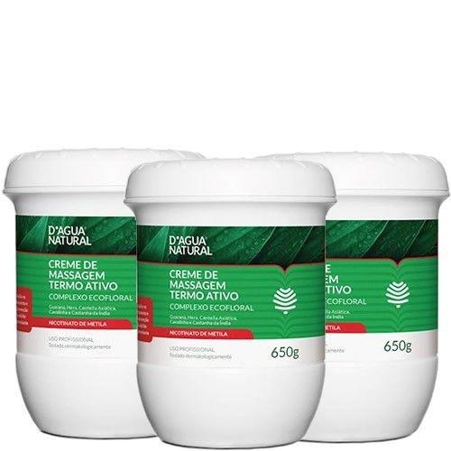 D'agua Natural Creme Termo Ativo Complexo Ecofloral 650g Cx c/3 Potes