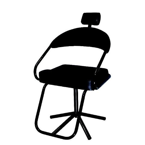 Cadeira Para Salão Slim com Apoio Para Cabeça Preta Lizze