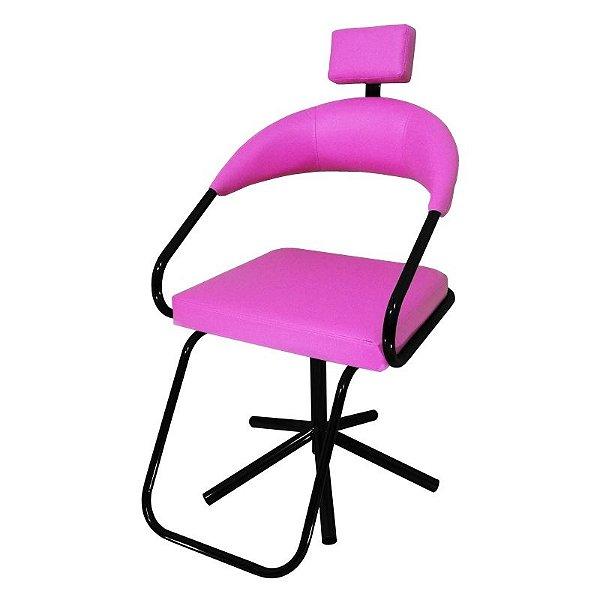 Cadeira Para Salão Slim com Apoio Para Cabeça Rosa Lizze