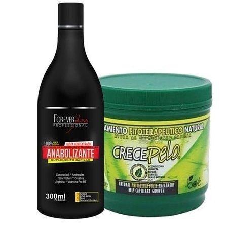 Kit Shampoo Anabolizante Capilar 300ml e Mascara Crece Pelo 240g