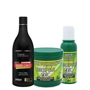 Kit Shampoo Anabolizante Capilar + Mascara e Leave-in Crece Pelo