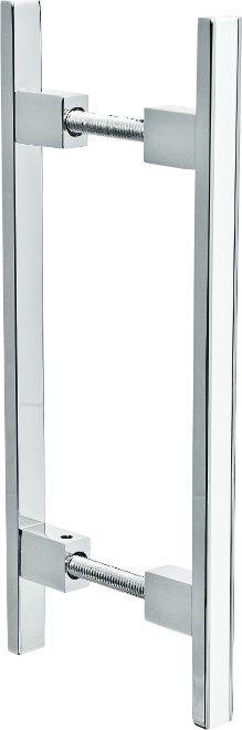 REF. 367 CROMADO - Puxador Alumínio Barra Reta com Friso Branco