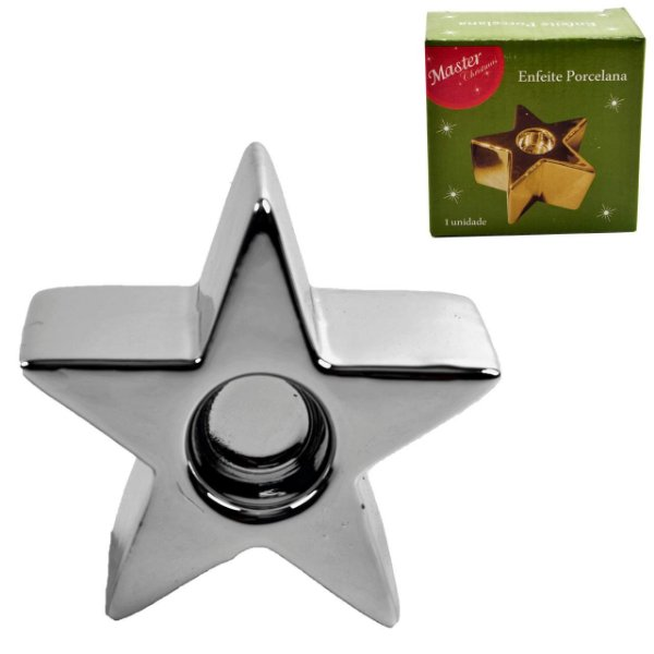 Castiçal Vela Porcelana Estrela