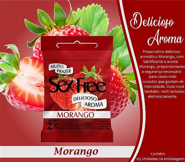 PRESERVATIVO MASCULINO MORANGO COM 3 UNID. SEX FREE