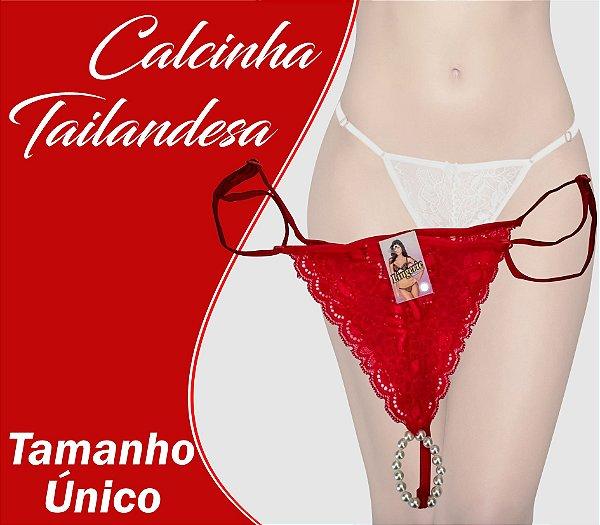 CALCINHA TAILANDESA TAMANHO ÚNICO VERMELHO CLARO