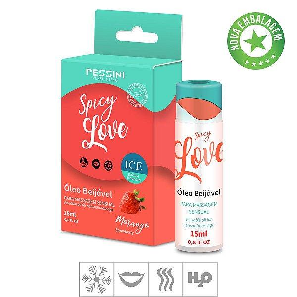 Gel Comestivel Spicy Love Ice 15ml  (ST491)-Morango