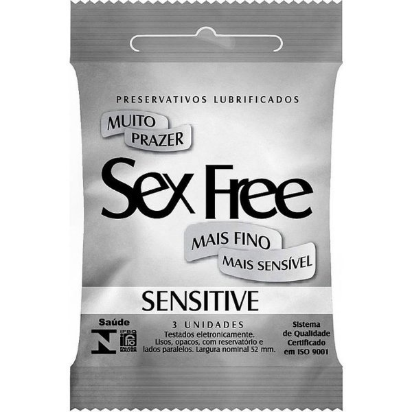 PRESERVATIVO MASCULINO SENSITIVE C/3 SEX FREE