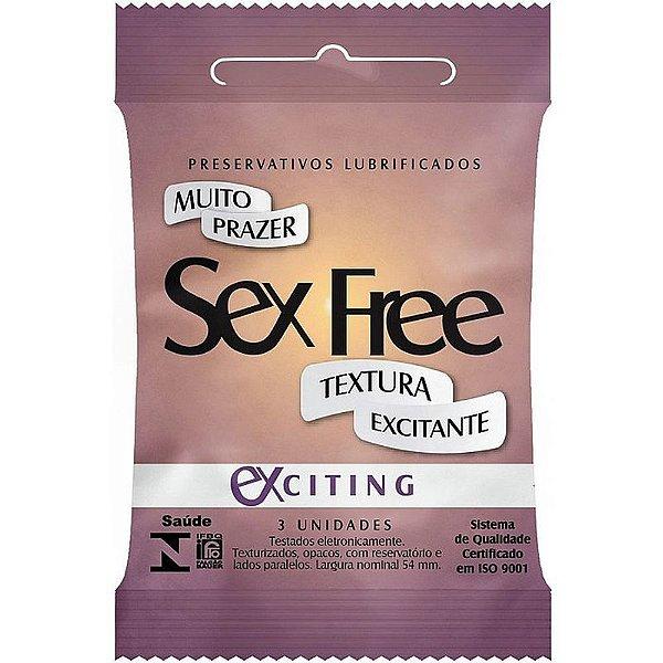 PRESERVATIVO MASCULINO TEXTURIZADO EXCITING C/3 SEX FREE