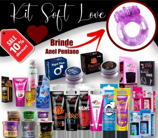 Kit Sex Shop 30 itens  Soft Love  + BRINDE ANEL PENIANO