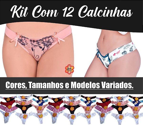 KIT Com 12 Calcinhas Cores, Tamanhos e Modelos Variados