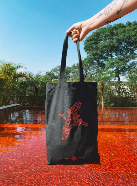 Eco Bag Tsuru - Estampa frente e verso - Preta