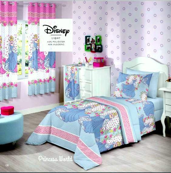 Jogo de Cama Duplo Solteiro Princess Worl Cinderela -Santista Linha Disney-3 peças