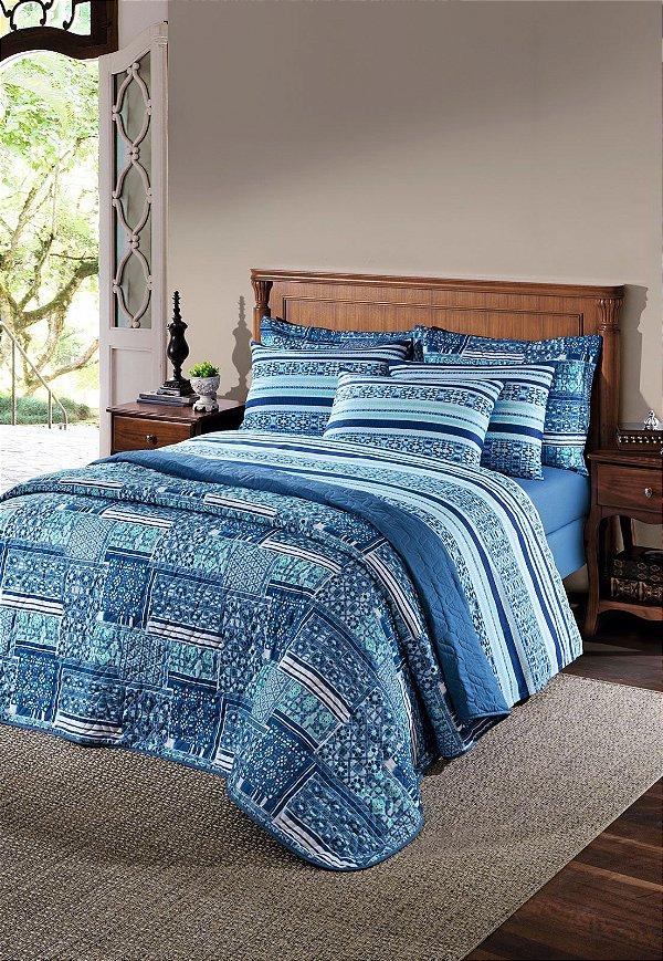 Kit Cobre Leito Queen Unique Percal Marrakesh 1 Santista- Azul 180 fios- 100% algodão 3 peças.