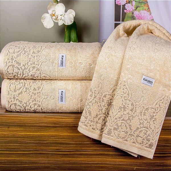 Jogo de toalhas - Banhão, banho e rosto - Karsten -  Versati Caprice (Bege com barra marrom)- 3 peças - Gramatura: 500g/m².
