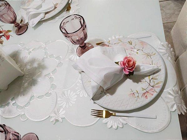 Caminho de mesa, branco acetinado- Liance- 40 X 145 cm