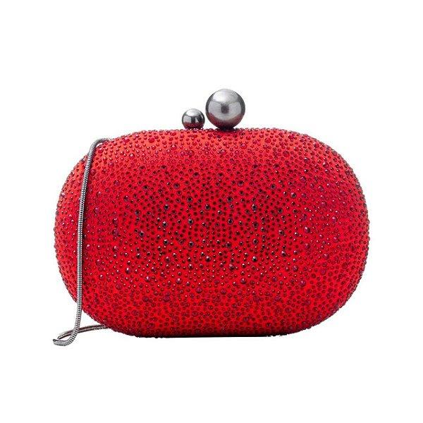 Bolsa Clutch Oval Cristais Vermelho