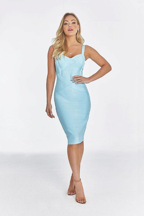 Vestido Midi Bruna Azul Tiffany