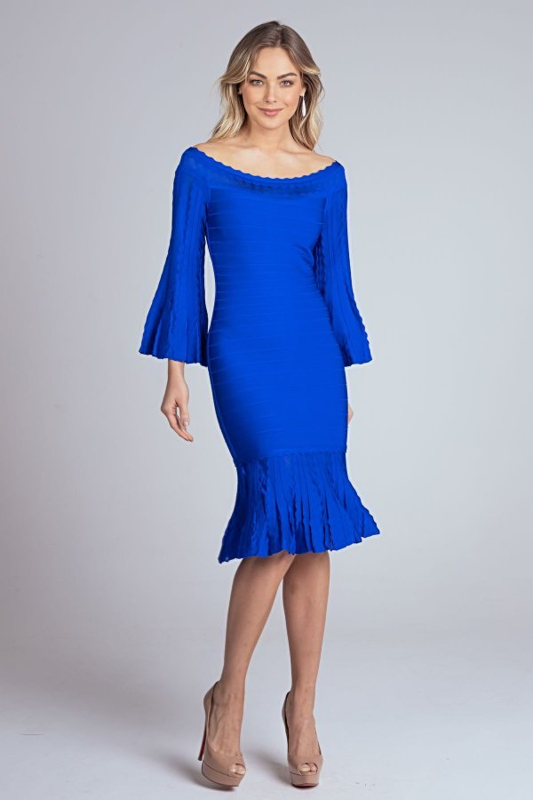 Vestido Curto Manga Flare Margot Azul