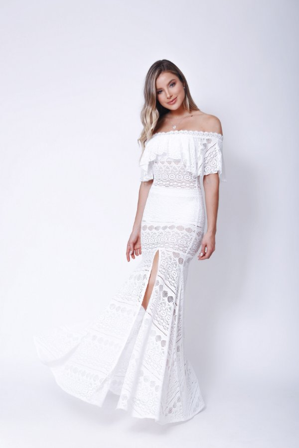 Vestido Longo Ombro a Ombro Renda Transparente Gaby Branco