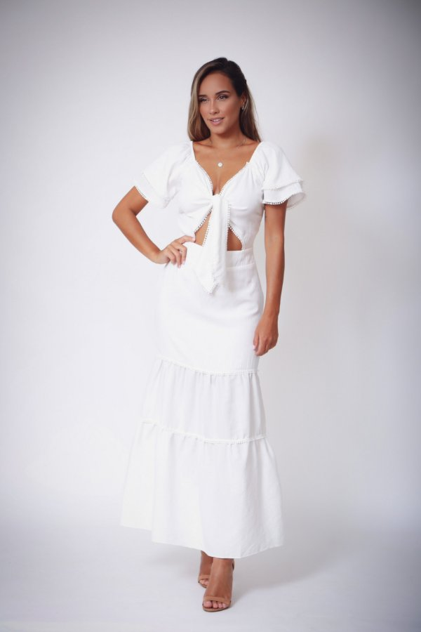 Vestido Longo Evasê Angelina Branco