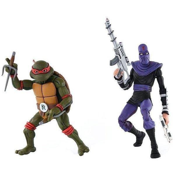 """Raphael Vs. Foot Soldier Tartarugas Ninja 2 Pack - 7"""" Figure Neca"""