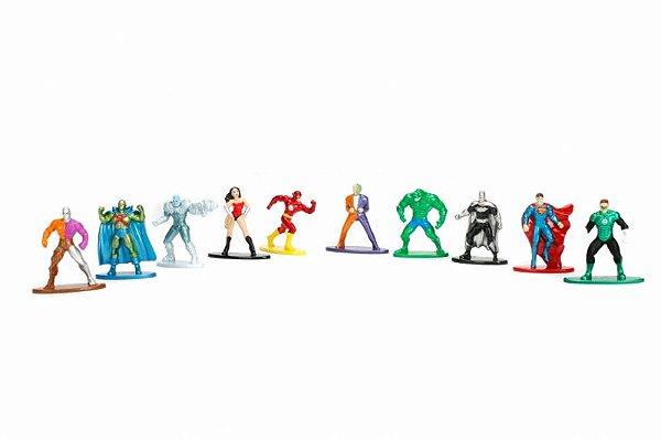 Kit DC Comics - Nano Metalfigs Diecast Metal Pack c/ 10 peças Jada Toys
